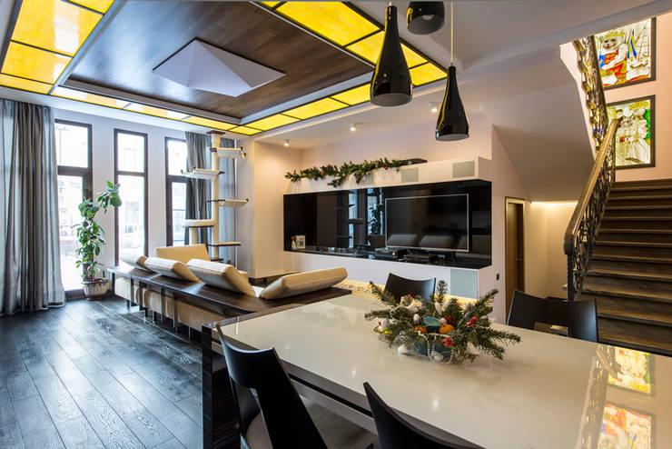 Дизайн проект интерьера загородного дома в КП Покровский: Столовые комнаты в . Автор – r-interiors,