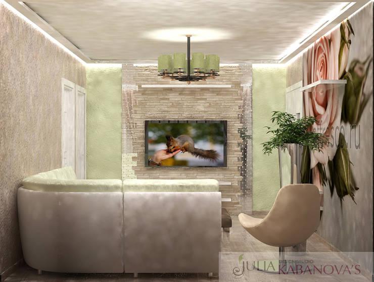 дизайн проект на Коломенской набережной: Гостиная в . Автор – JULIA KABANOVA's DESIGN STUDIO,