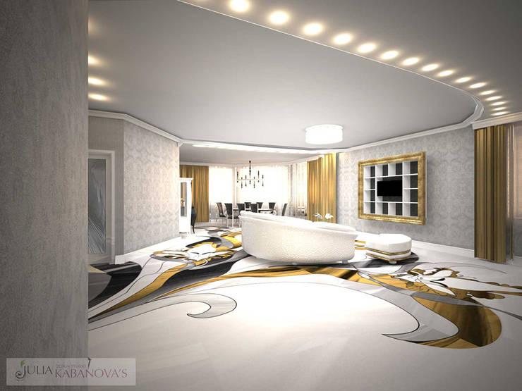 дизайн проект на ул.Строителей: Гостиная в . Автор – JULIA KABANOVA's DESIGN STUDIO,