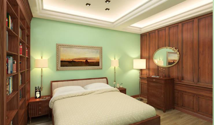 спальня, слева рабочий кабинет: Спальни в . Автор – DEMARKA
