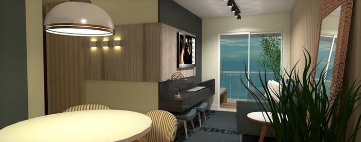 Apartamento Santo André: Salas de estar  por Studio Meraki Arquitetura e Design