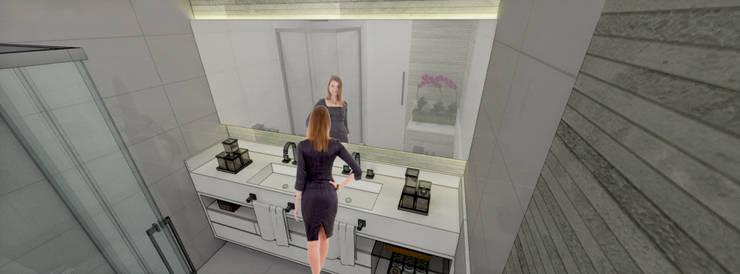 Apartamento Brooklin Paulista: Banheiros  por Studio Meraki Arquitetura e Design