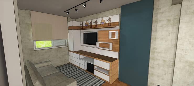 Apartamento São Caetano do Sul: Salas multimídia  por Studio Meraki Arquitetura e Design,