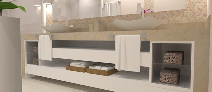 Banho Casal: Banheiros  por Studio Meraki Arquitetura e Design