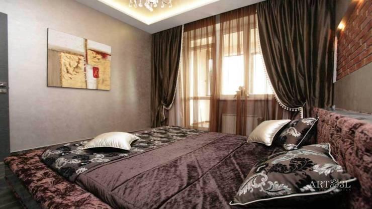 Квартира на Плющихе: Спальни в . Автор – Дизайн-студия «ARTof3L»