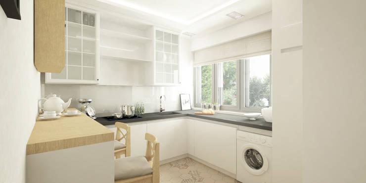 Jasne mieszkanie na poddaszu: styl , w kategorii Kuchnia zaprojektowany przez Pracownia Aranżacji Wnętrz 'O-Kreślarnia'