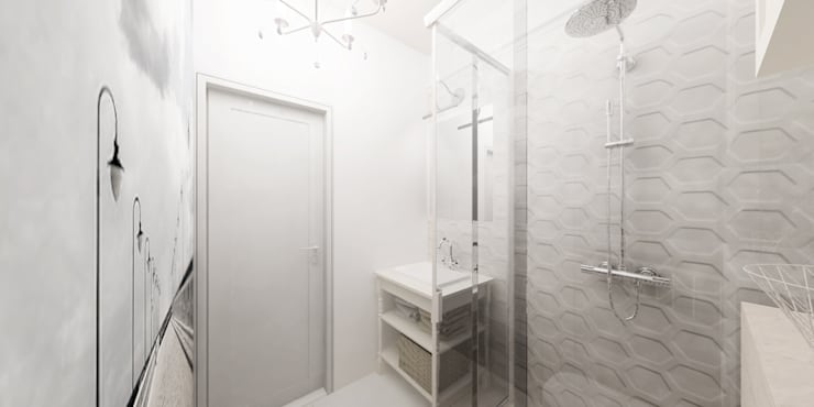 Jasne mieszkanie na poddaszu: styl , w kategorii Łazienka zaprojektowany przez Pracownia Aranżacji Wnętrz 'O-Kreślarnia'