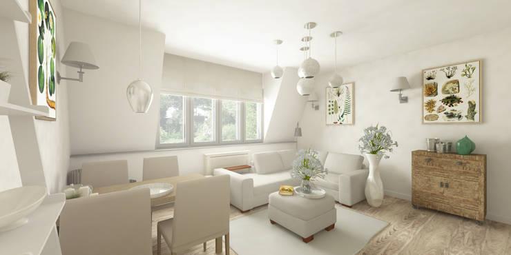 Jasne mieszkanie na poddaszu: styl , w kategorii Salon zaprojektowany przez Pracownia Aranżacji Wnętrz 'O-Kreślarnia'
