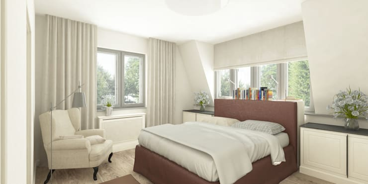Jasne mieszkanie na poddaszu: styl , w kategorii Sypialnia zaprojektowany przez Pracownia Aranżacji Wnętrz 'O-Kreślarnia'