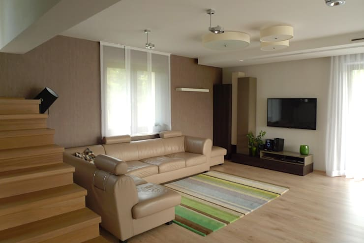 salon: styl , w kategorii Salon zaprojektowany przez Archomega