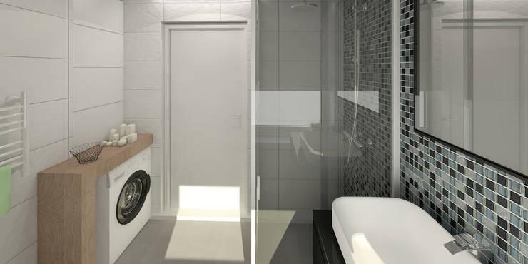 Słoneczne mieszkanie z żółtym akcentem: styl , w kategorii Łazienka zaprojektowany przez Pracownia Aranżacji Wnętrz 'O-Kreślarnia'