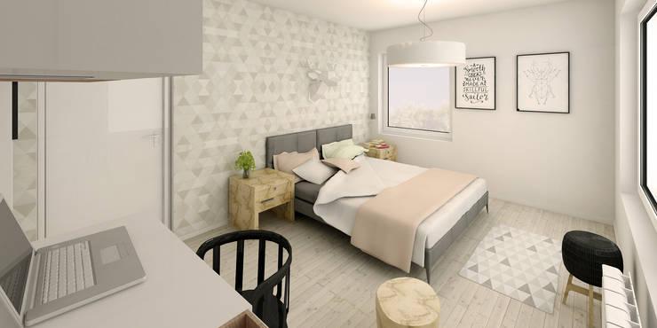 Słoneczne mieszkanie z żółtym akcentem: styl , w kategorii Sypialnia zaprojektowany przez Pracownia Aranżacji Wnętrz 'O-Kreślarnia'