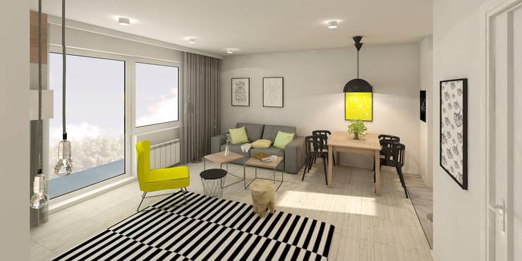 Słoneczne mieszkanie z żółtym akcentem: styl , w kategorii Salon zaprojektowany przez Pracownia Aranżacji Wnętrz 'O-Kreślarnia'