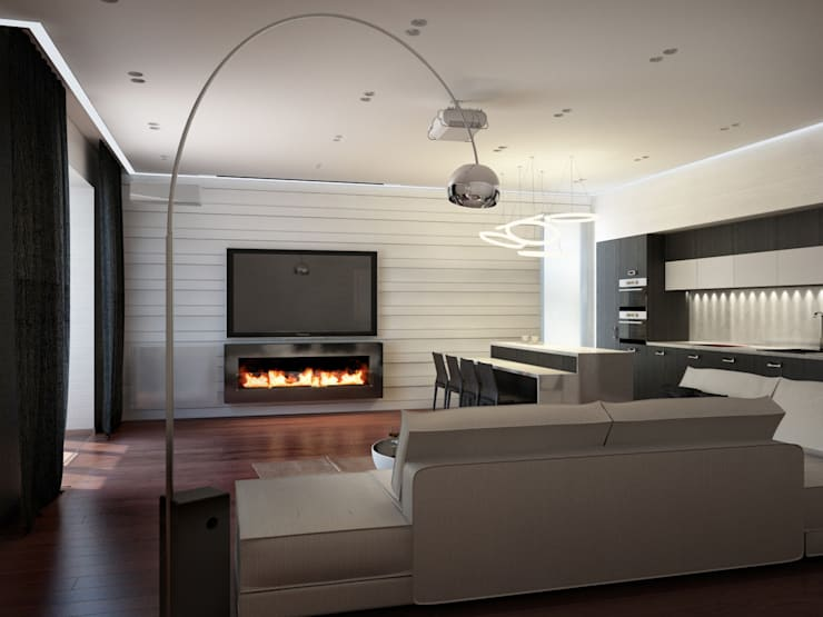 Японский минимализм: Гостиная в . Автор – BIARTI - создаем минималистский дизайн интерьеров,