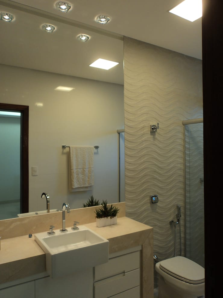 Banho Social: Banheiros  por Edifique Arquitetura & Interiores,Moderno