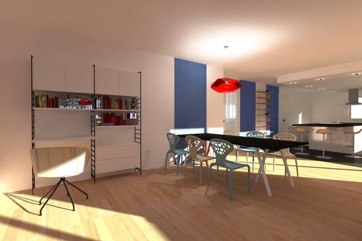AMENAGEMENT INTERIEUR # 010 - SALLE A MANGER vers CUISINE Version # 002: Salle à manger de style  par HOME LAB'