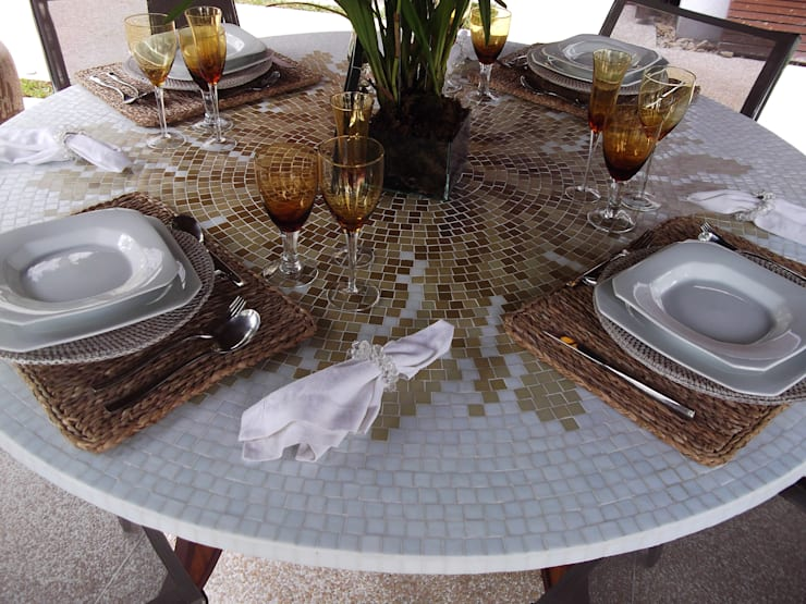 Tampo de mosaico em ardósia:   por Myo Atelier,Moderno Ardósia