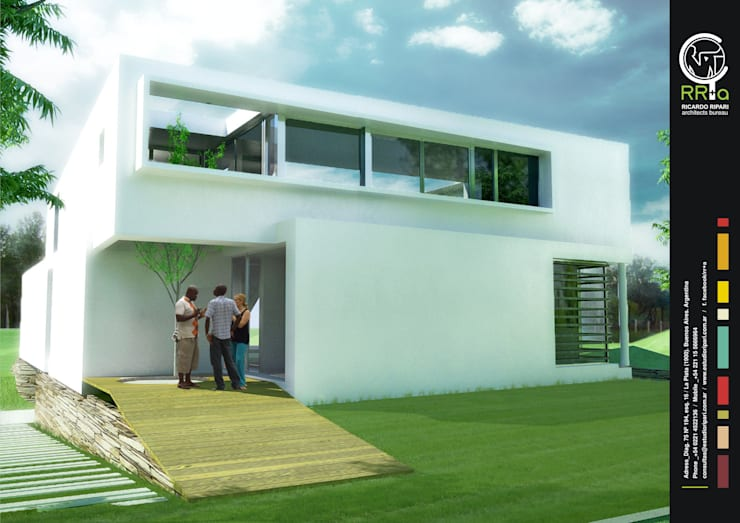 Acceso a la casa: Casas unifamiliares de estilo  por Rr+a  bureau de arquitectos - La Plata