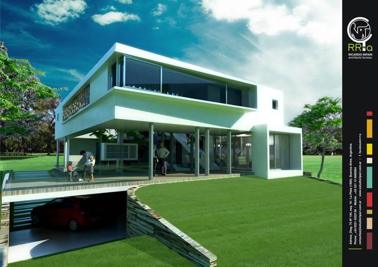 Fachada: Casas unifamiliares de estilo  por Rr+a  bureau de arquitectos - La Plata