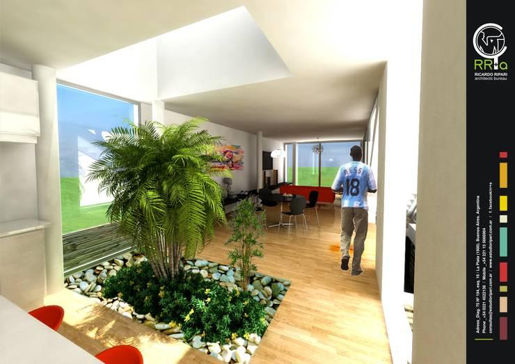 Hall de entrada: Pasillos y recibidores de estilo  por Rr+a  bureau de arquitectos - La Plata