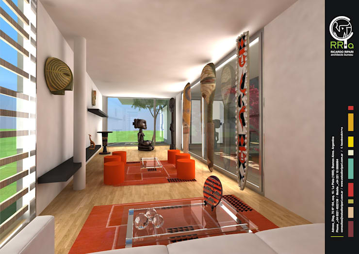 Living: Livings de estilo  por Rr+a  bureau de arquitectos - La Plata