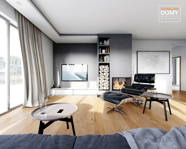 Balos A: styl , w kategorii Salon zaprojektowany przez Słoneczne Domy Pracownia Architektury,Nowoczesny