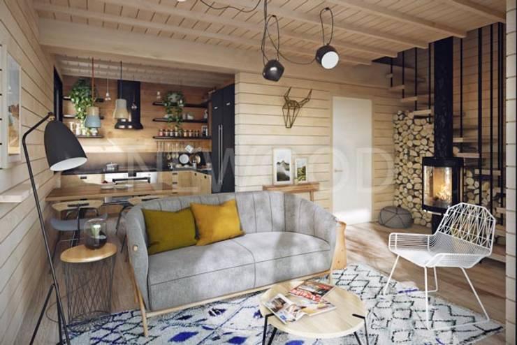 Cube: Гостиная в . Автор – NEWOOD - Современные деревянные дома