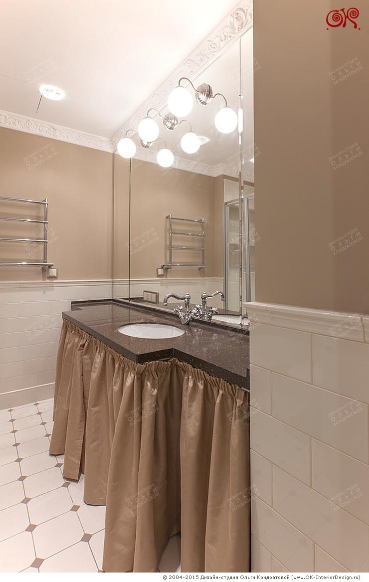 Ремонт ванной комнаты в квартире на Остоженке: Ванные комнаты в . Автор – Дизайн студия Ольги Кондратовой