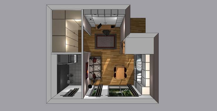 piantina 3d con letto chiuso:  in stile  di Bludiprussia design