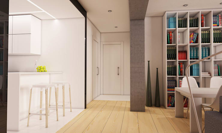 Infografía 3d del proyecto (salón-cocina) de auno50 interiorismo Moderno