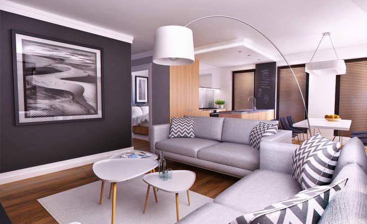 APARTAMENT POKAZOWY Gdynia: styl , w kategorii Salon zaprojektowany przez Just Interiors,