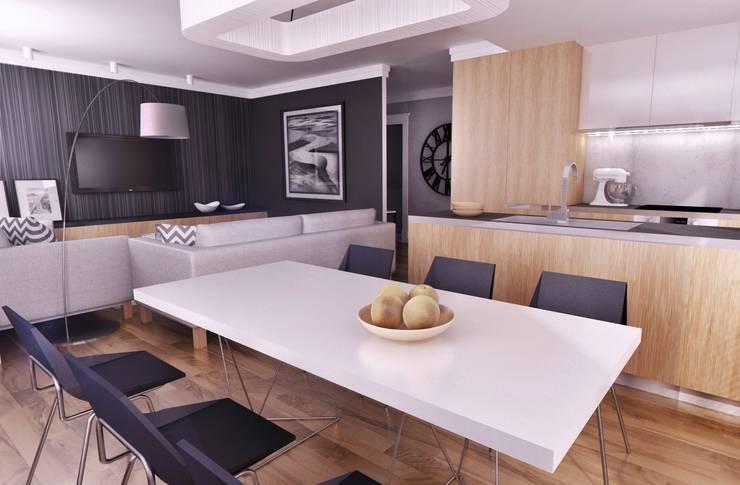 APARTAMENT POKAZOWY Gdynia: styl , w kategorii Jadalnia zaprojektowany przez Just Interiors,