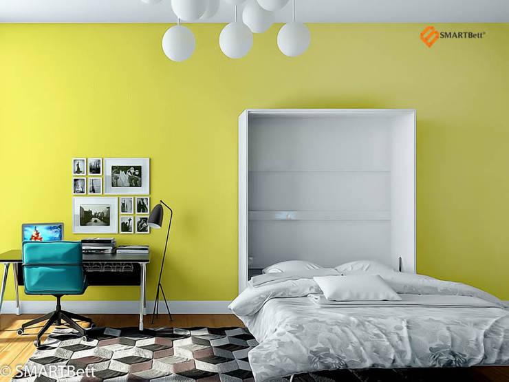 Schrankbett SMARTBett 160x200 Weiß Hochglanz: moderne Wohnzimmer von SMARTBett GmbH