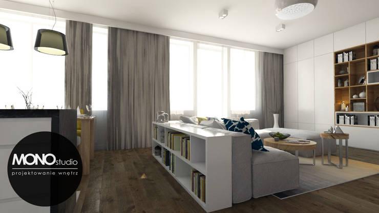 Naturalne materiały w eleganckim salonie z nowoczesnymi akcentami.: styl , w kategorii Salon zaprojektowany przez MONOstudio