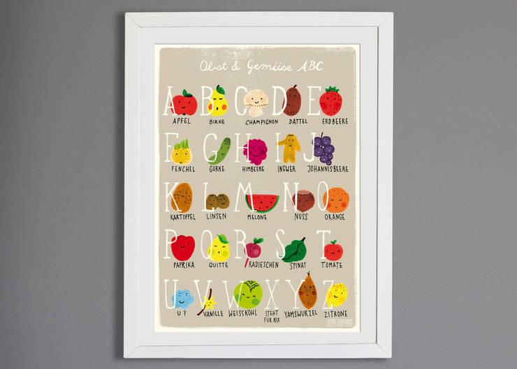 Poster mit Obst & Gemüse - ABC :   von Familie kleiner Tiere,Skandinavisch Papier