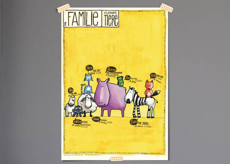 Poster Tierfamilie:   von Familie kleiner Tiere,Skandinavisch Papier