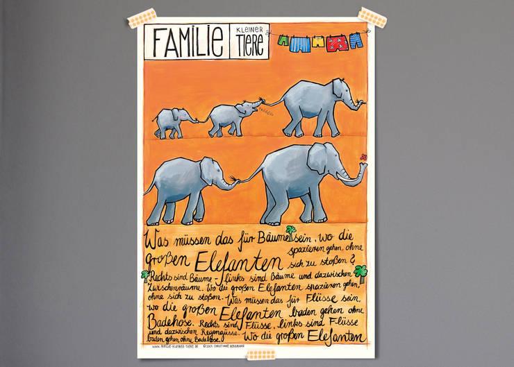Poster Elefanten:   von Familie kleiner Tiere,Skandinavisch Papier