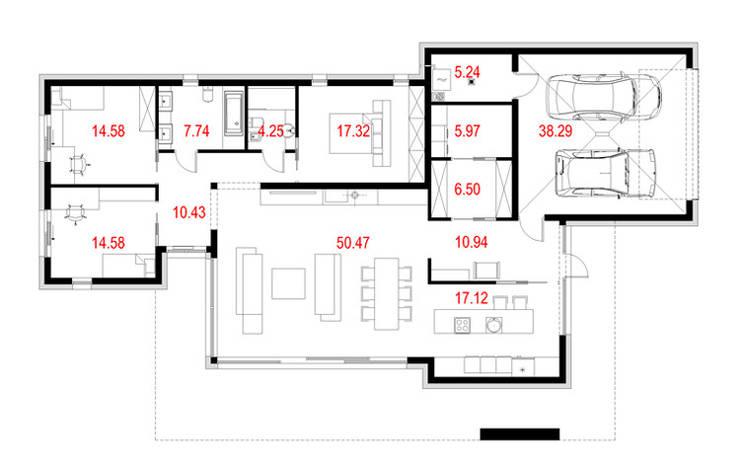 Projekty domów - House 11.1: styl , w kategorii  zaprojektowany przez Majchrzak Pracownia Projektowa