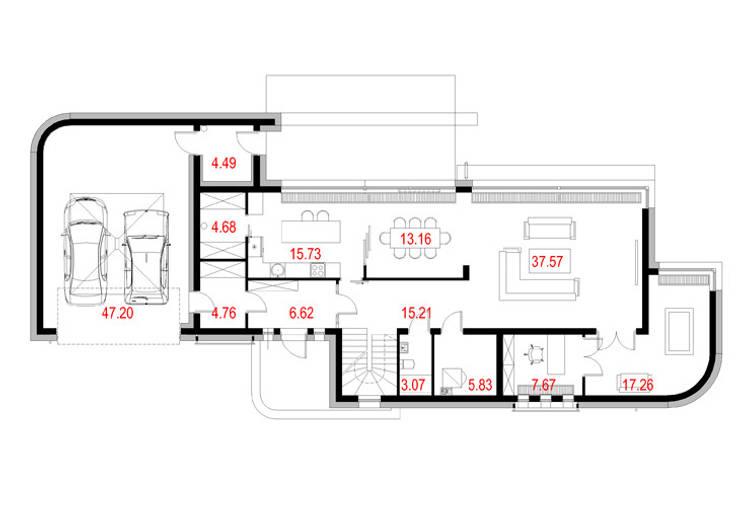 Projekty domów - House x01: styl , w kategorii  zaprojektowany przez Majchrzak Pracownia Projektowa