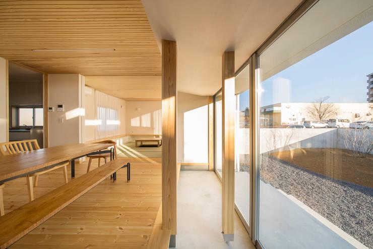 陽だまりの家: 有限会社 宮本建築アトリエが手掛けたリビングです。