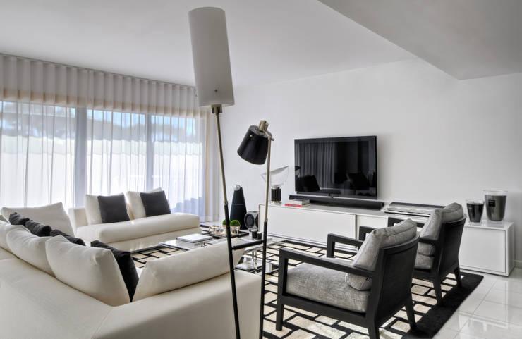 Apartamento Cascais: Salas de estar modernas por Silvia Costa    Arquitectura de Interiores