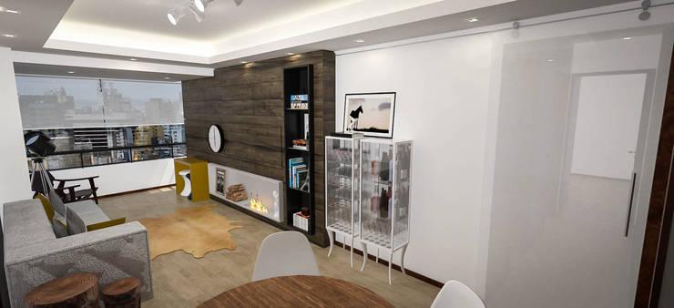 Apartamento Jovem Solteiro: Salas de estar  por Cris Manzolli  Arquiteta,Moderno