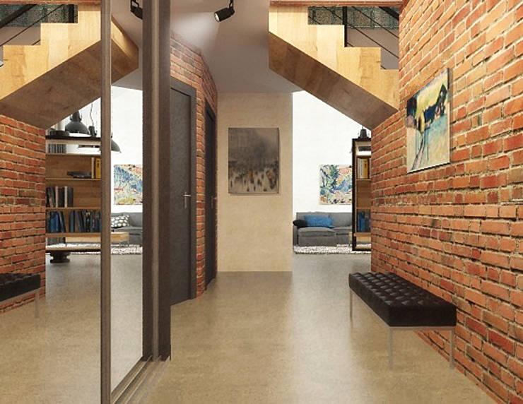 Ломанная квартира в стиле лофт: Коридор и прихожая в . Автор – Дизайн студия Александра Скирды ВЕРСАЛЬПРОЕКТ,