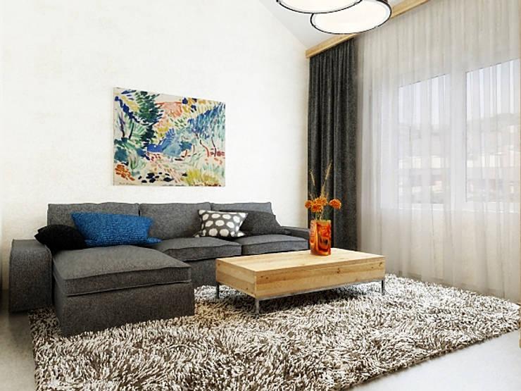 Ломанная квартира в стиле лофт: Гостиная в . Автор – Дизайн студия Александра Скирды ВЕРСАЛЬПРОЕКТ