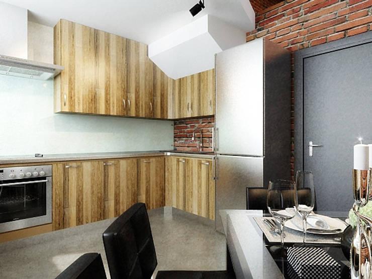 Ломанная квартира в стиле лофт: Кухни в . Автор – Дизайн студия Александра Скирды ВЕРСАЛЬПРОЕКТ