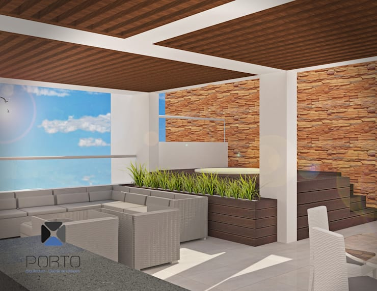 "Proyecto ""Penthouse Yucatan Country Club"": Terrazas de estilo  por PORTO Arquitectura + Diseño de Interiores"