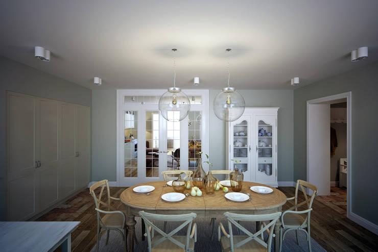 Столовая совмещенная с кухней: Столовые комнаты в . Автор – lab21studio,