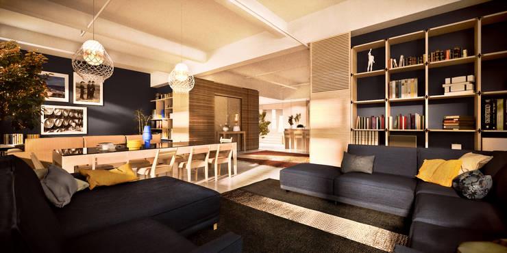Living room by de-cube, Modern