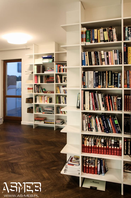 reagały na książki: styl , w kategorii Salon zaprojektowany przez AS-MEB