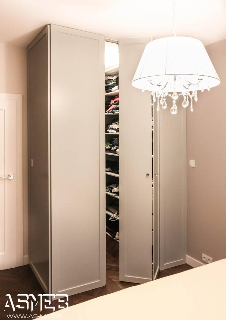 Szafa w sypialni - garderoba: styl , w kategorii Sypialnia zaprojektowany przez AS-MEB
